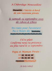 Invitation Choupette 4 ans verso bis