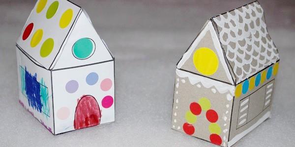 Maman nougatine colorier et d corer une maison pain d 39 pice en papier maman nougatine - Patron de maison en papier a imprimer ...