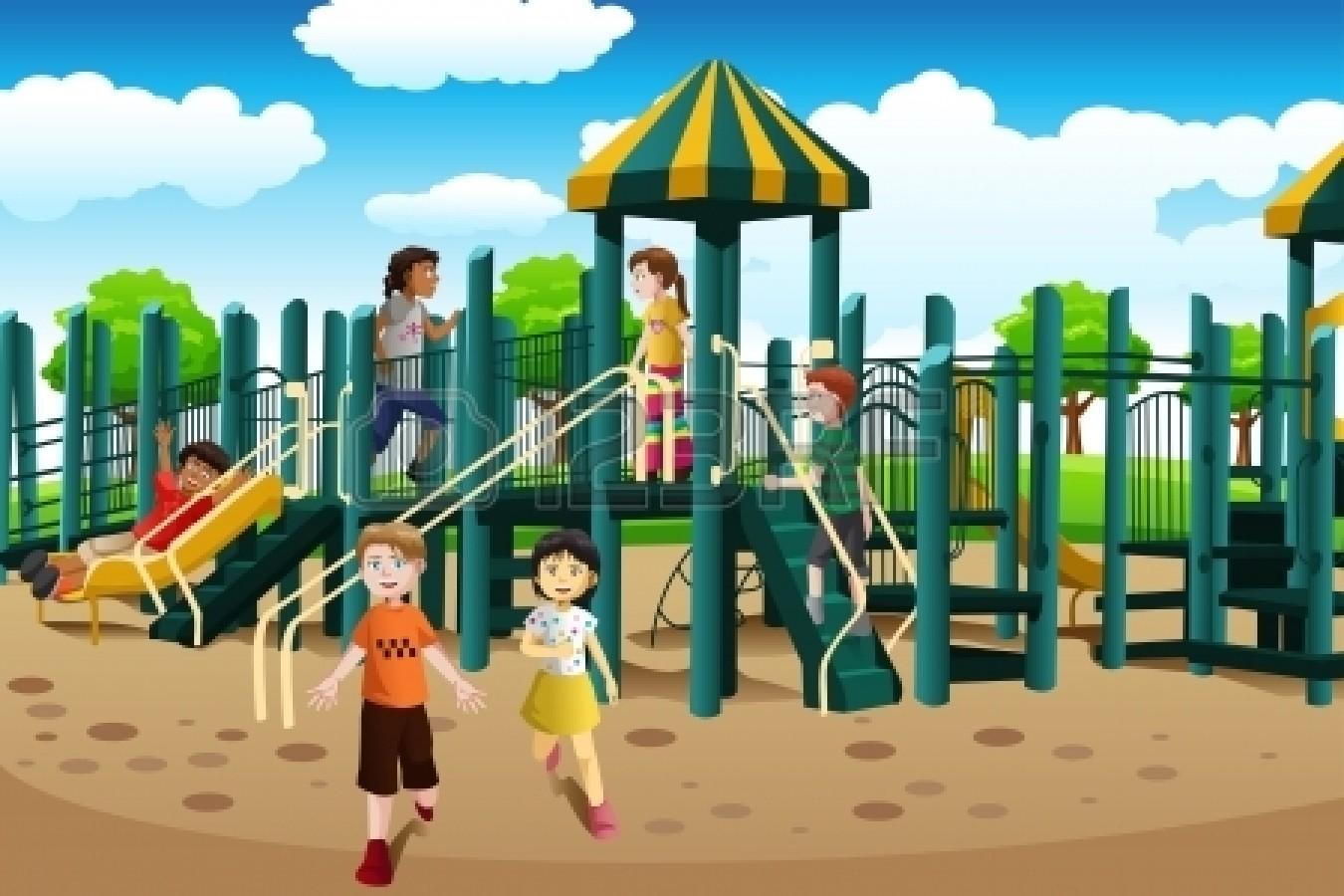enfants sur aire de jeux